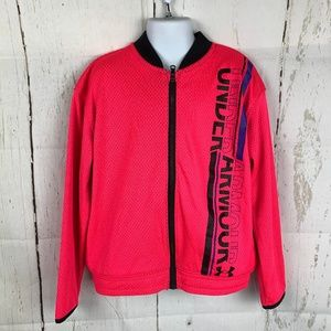 Under Armour Girls Hot Pink Mesh Bomber Jacket